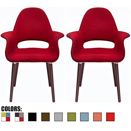 9609bdace806 2xhome - Set of 2, Red Mid Century Modern Upholstered Fabric Organic Accent  Living Room
