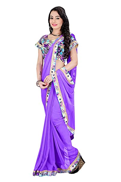 Lavender Color Saree With Nice Looking Plain Pallu Amazonin