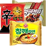 Nongshim and Ottogi Ramyun 6 Pack Special Combo 85(2pc of Shin Ramyun , 2pc of Chapagetti, and 2pc of Sesame Flavor Ramen) Total 6 Pc