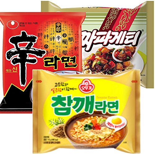 Nongshim and Ottogi Ramyun 6 Pack Special Combo 85(2pc of Shin Ramyun , 2pc of Chapagetti, and 2pc of Sesame Flavor Ramen) Total 6 Pc by Nongshim