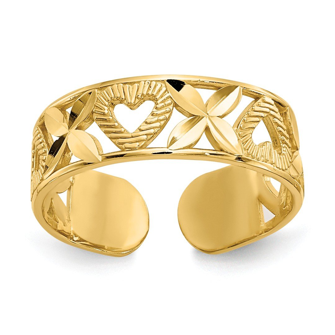 ICE CARATS 14k Yellow Gold X Heart Adjustable Cute Toe Ring Set Fine Jewelry Gift Set For Women Heart