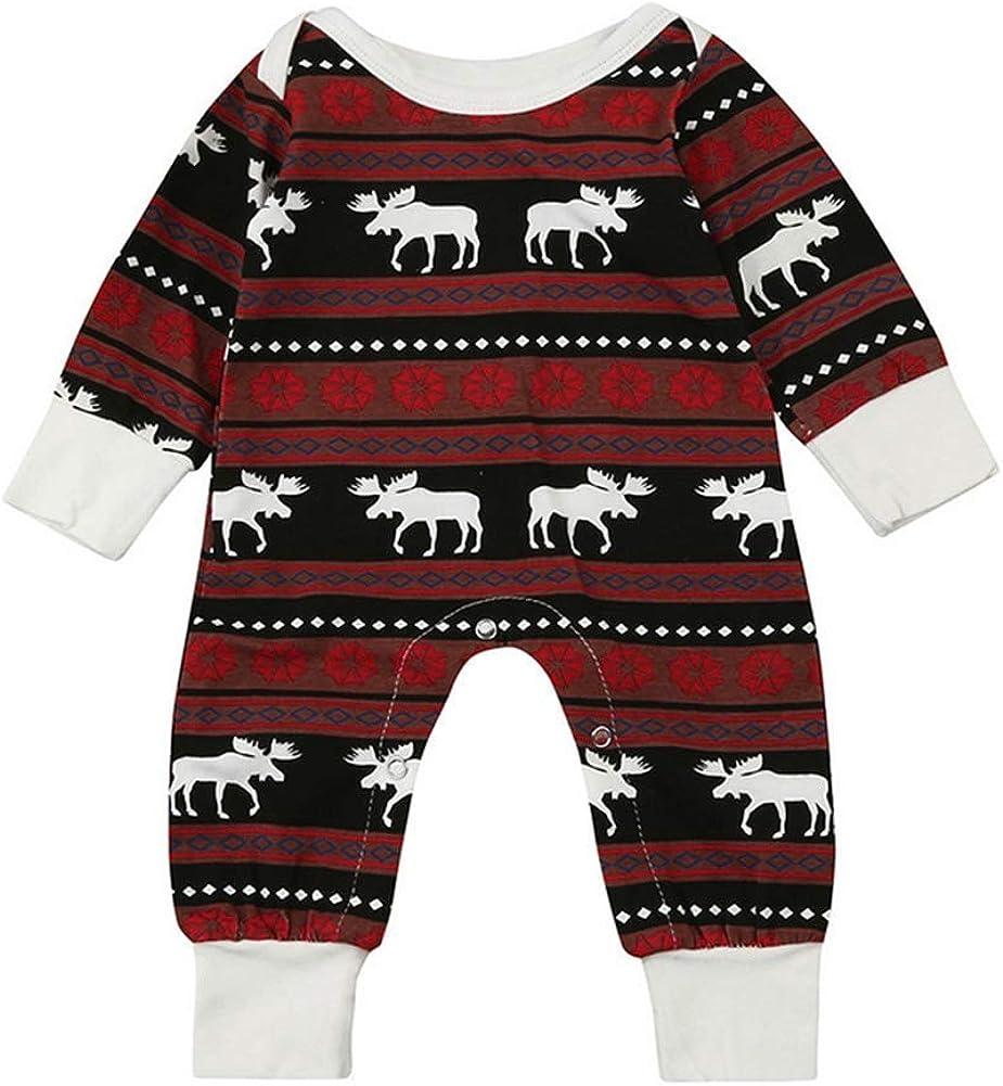 Kikibaby Christmas Pajamas Dress for Baby Girls Kids Boy Christmas Warm Long Sleeve Deer Print Romper Clothes
