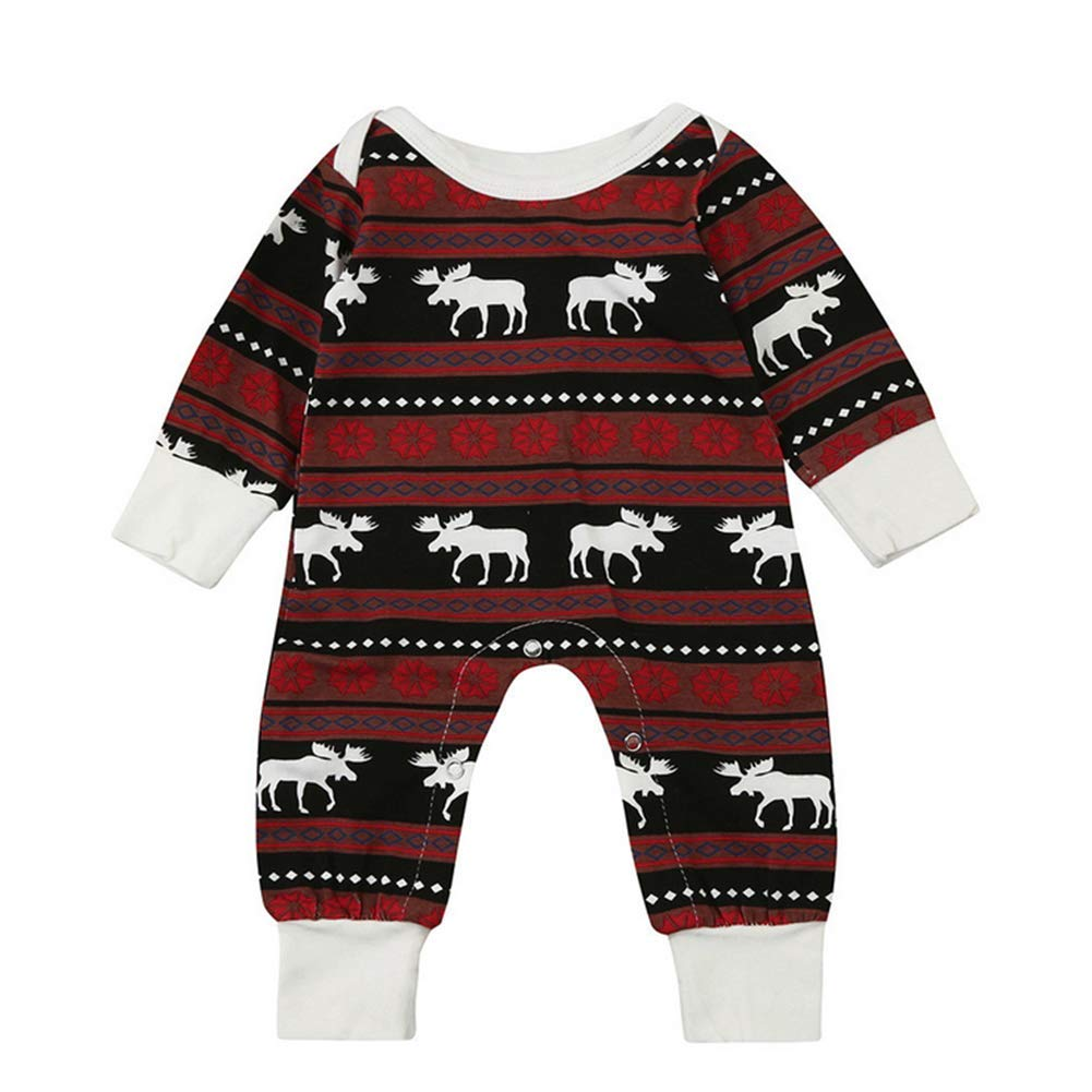 Kikibaby Christmas Pajamas Dress for Baby Girls Kids Boy Christmas Warm Long Sleeve Deer Print Romper Clothes