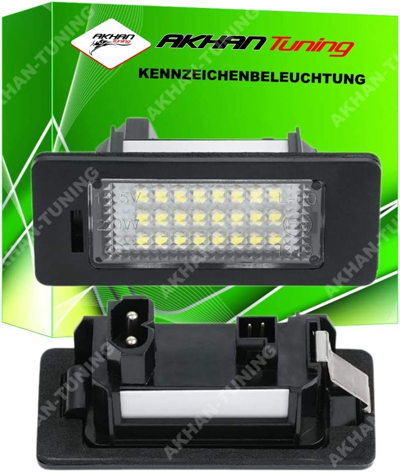 Akhan Kb135 Led Kennzeichenbeleuchtung Fuer E39 E60 E61 E90 E91 E92 E93 E82 E88 Nerschildbeleuchtung Plug And Play Komplette Einheit Mit 18 Leds Auto
