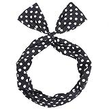 HENGSONG Women Girls Rockabilly Headband Vintage Polka Dot Headband Head Wrap Hair Accessories Gift (Black White)