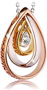 قلادة من الفضة الاسترلينية عيار 925 على شكل قلب مزدوج للنساء والسيدات والفتيات مع عبوة هدايا من مجوهرات جيه.روزيه الراقية
