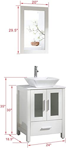 24″ White Bathroom Vanity Cabinet Sink Combo Marble Pattern Top w/Faucet and Drain Set Square Ceramic Sink