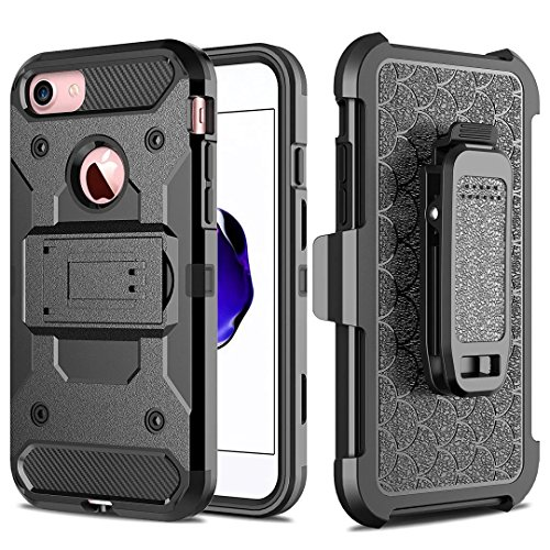 IPhone 6S Plus Case, Super Shockproof 3 In 1 Vollkarosserie Schutz Hard Black Case mit Clip für IPhone 6 Plus / iPhone 6S Plus