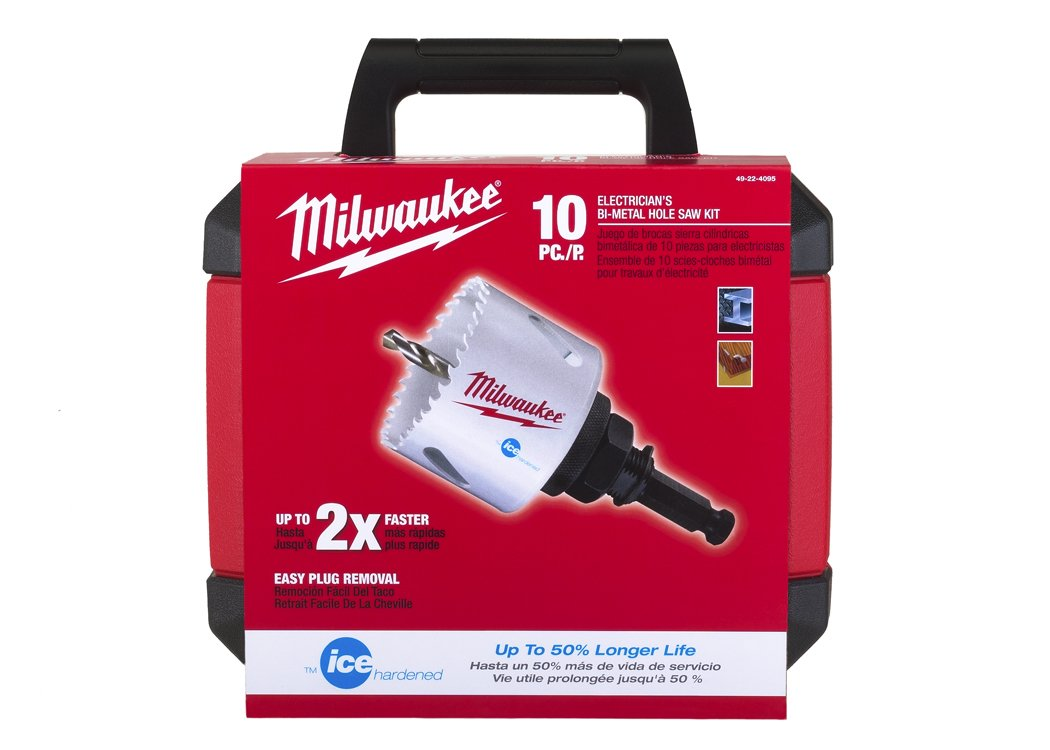 milwaukee hole saw. milwaukee 49-22-4095 10-pc electricians hole dozer saw kit - sets amazon.com