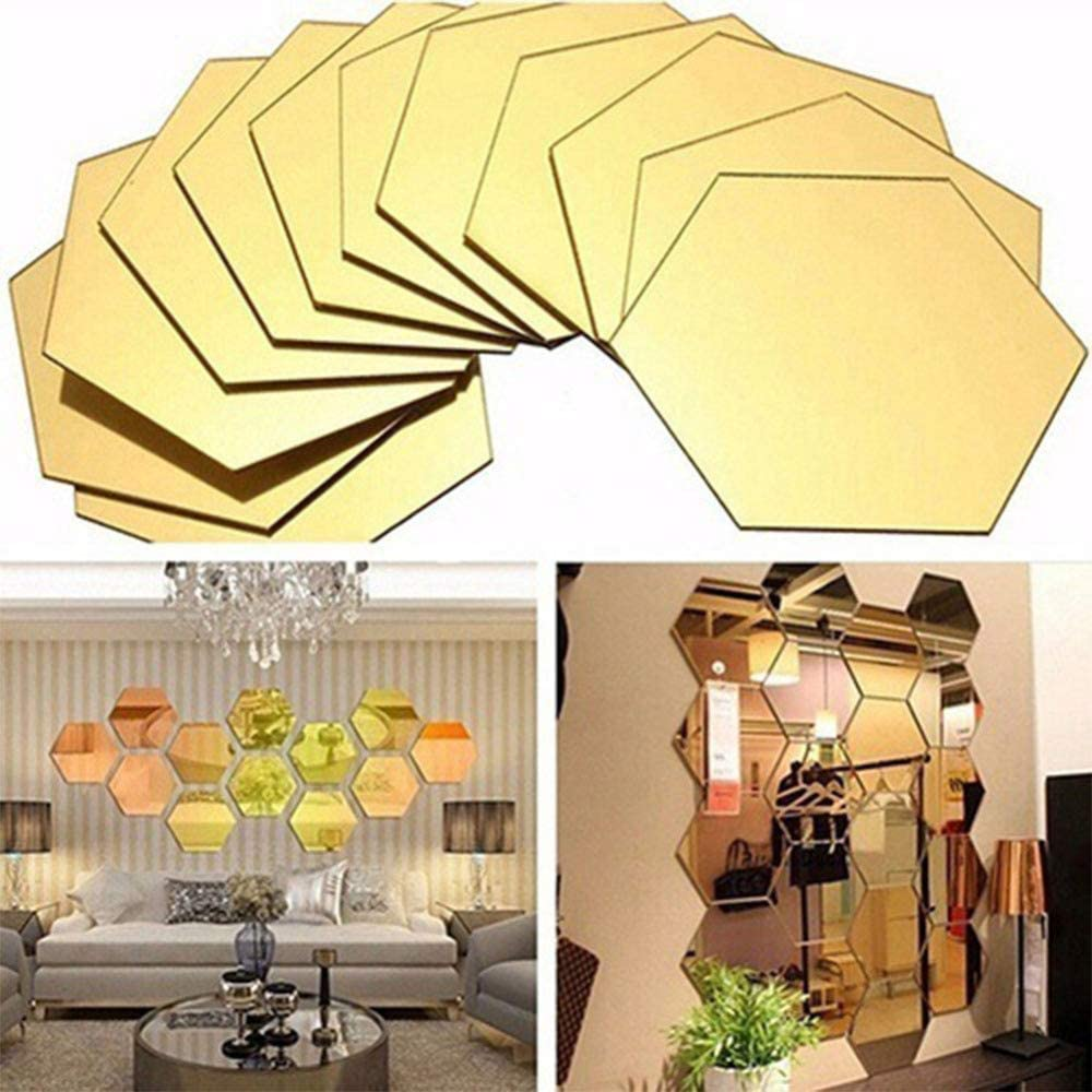 Gigicloud 12PCS 10CM Hexagonal Simple Mirror Wall Stickers, Geometric DIY Art Wall Stickers, Used for Home Living Room Bedroom Sofa TV Background Wall Decal Decoration Golden