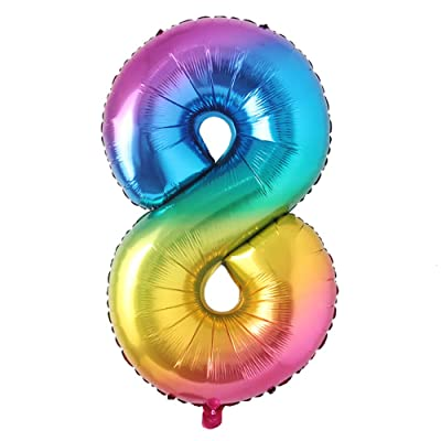 40inch Big Rainbow Foil Birthday Balloon Helium Number Balloons Happy Birthday Party Decorations Kids Figures Wedding Air Ball (40 inch Color 8): Health & Personal Care