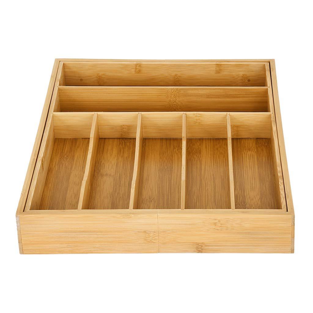 LLJEkieee Caja de almacenamiento de cubiertos de bambú ...