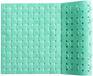 Bathtub and Shower Mat, Non Slip, Machine Washable, Woven Design, Perfect Bath Mat for Tub and Shower for Kids and Elderly, 28 x16 Inch, Mint Color