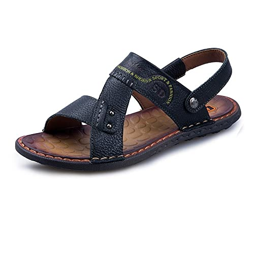 45958f1bfab Mens flip Flop Sandals Genuine Leather Beach Slippers Casual Non-Slip Soft  Flat Sandals Shoes