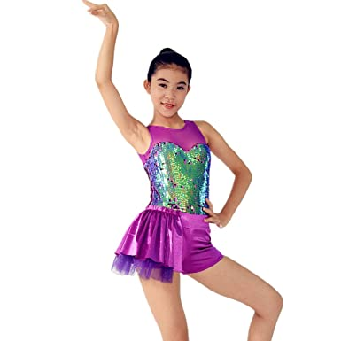 e2e8926e4b89 MiDee Tap & Jazz Dance Outfit Competition Dance Wear Stage Dancing Costumes  (XSC, Purple