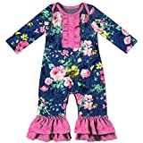 Anbaby Adorable Baby Girls Floral Velvet Eco-Friendly Stretchy Bodysuit Jumpsuit Long Sleeve Romper Navy M