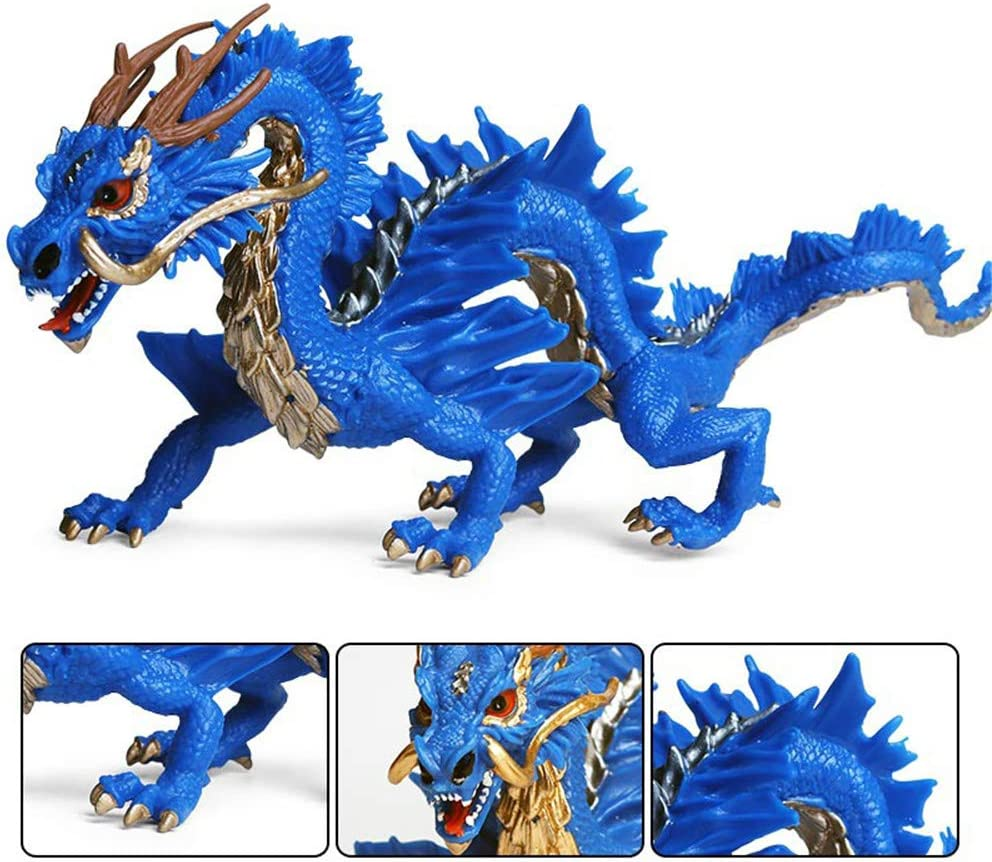 Blue DIYARTS Chinese Dragon Toy Extra Large Eastern Traditional Oriental Style Simulation Animal Model for Home Decoration or Children Playing