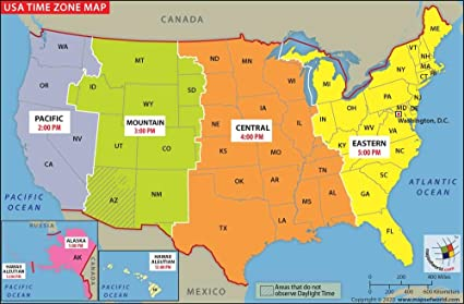 Time Zone In Usa Map Amazon.: US Time Zone Map   Laminated (36