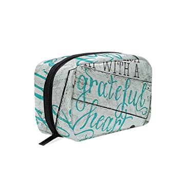 Travel Toiletry Makeup Bag Begin Each Day With Grateful Heart Wood Signs Cosmetic  Bags Women s Portable 3cdf349802