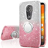 Moto G6 Play Case, Silverback Girls Bling Glitter Sparkle Case With 360 Rotating Ring Stand, Soft TPU Outer Cover + Hard PC Inner Shell Skin for Motorola Moto G6 Play Case 2018 -Pink