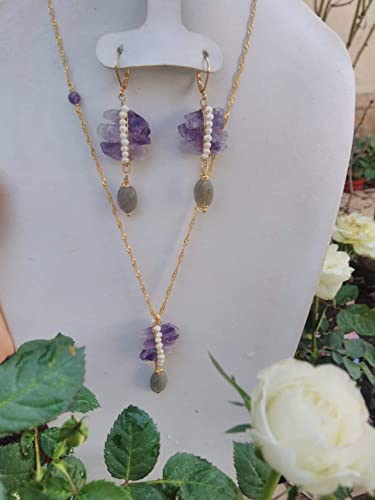 5c062a5c735b82 Amethyst, Pearl and labradorite. Necklace and Earrings Set, handmade,  semi-precious stones, and 14k gold plated chain MADE IN MEXICO: Amazon.ca:  Handmade