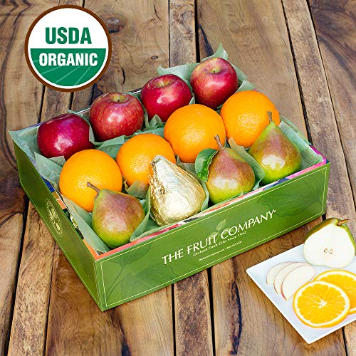 The Fruit Company Organic Mixed Fruit Medley Gift Box- Organic Apples, Organic Pears & Organic Oranges In a Reusable Watercolor Box Designed by a Local Oregon Artist