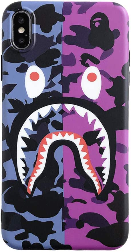 Fanke iPhone Xs Max Soft Case,IMD Sleek Smooth Texture Anti Scratch Unfading Coloring Premium TPU Slim Fit Soft Cover for 6.5 iPhone Xs Max with Street Fashion Trend Design (Purple Pink Shark)