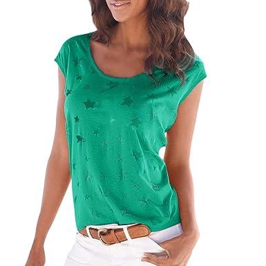 76583b1c425ba Longra Damen T-Shirt Top mit Transparenten Sternen Alloverdruck Beachwear  Strandshirt Frauen Sommer Tops Oberteile