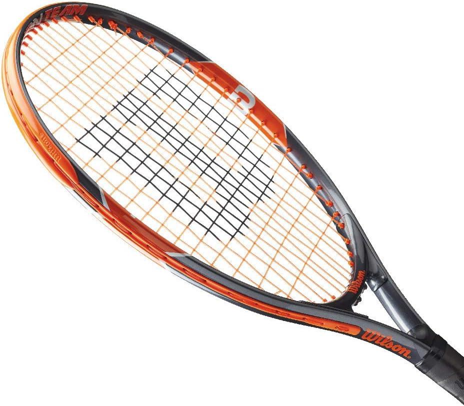 Burn Team 21 WRT209600 Wilson Raquette de Tennis pour Enfants Taille 5-6 ans Orange//Gris
