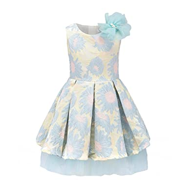 376aef2eaf3 Flower Decoration A-line Pleated Girls Party Dresses for Kids Elegant  Clothes Blue KG71882 3