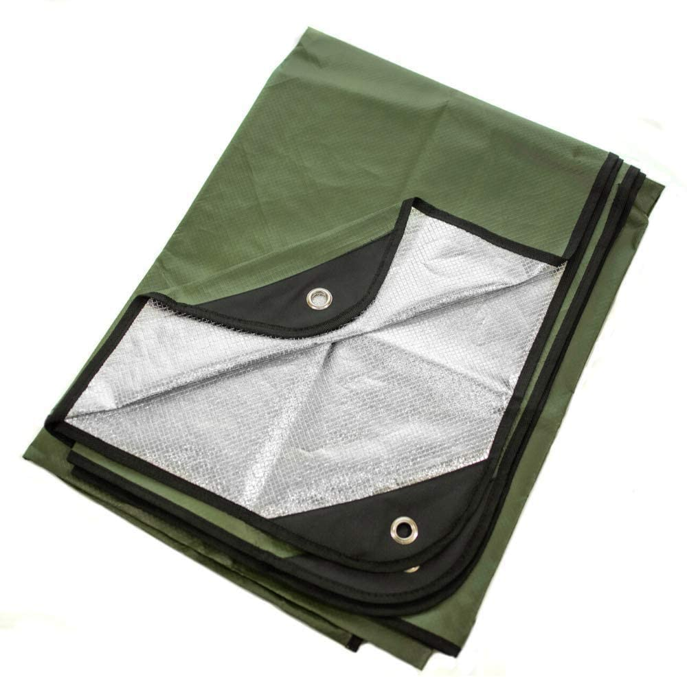 """Arcturus Heavy Duty Survival Blanket – Insulated Thermal Reflective Tarp - 60"""" x 82"""". All-Weather, Reusable Emergency Blanket for Car or Camping (Olive Green) : Sports & Outdoors"""