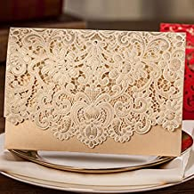 H&D 24x Horizontal Laser Cut Wedding Invitations Cards Kits with Hollow Flora Favors Pearl Paper Cardstock (Gold)