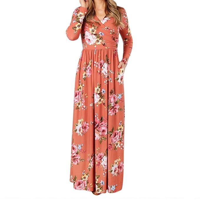 Vestido de mujer elegante vestido vintage - hiboote Vestido largo con cuello en V de mujer