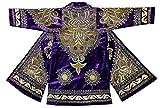 STUNNING VIOLET Uzbek traditional Bukhara outwear costume kaftan caftan robe jacket coat unisex gold silk embroidered b1445
