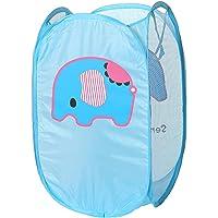 Cute Foldable Laundry Toys Tidy Clothes Socks Basket Storage Bag (Blue Elephant)