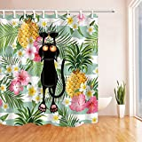 Cat Shower Curtains By KOTOM Cartoon Cat Kitten Climb up Tropical Plant Palm Tree Pineapple Background Bath Curtains, 72X72 Inches
