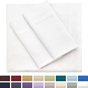 Bamboo Sheets Cal King Size, White Sheet Set - Deep Pocket - Premium Wrinkle Free Blend From Organic Bamboo Fiber - 4 Piece Bedding Sets - 1 Fitted, 1 Flat, 2 Pillow Cases - California King