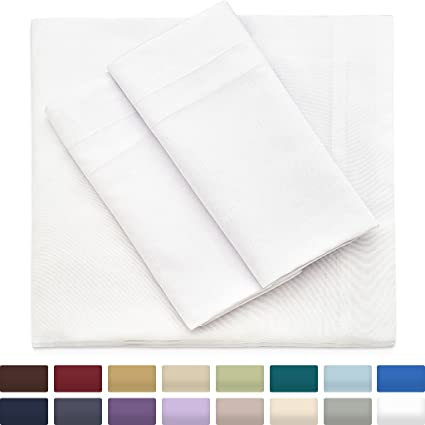 Beau Cosy House Collection Bamboo Sheets Queen Size, White Bed Sheet Set   Deep  Pocket