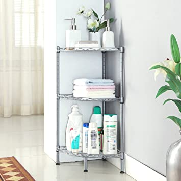 LANGRIA 3 Tire Corner Shelf Bathroom Shelving Corner Wire Shelving Units,  Free Standing Corner