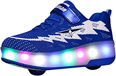Amazon Com Bingyelh Roller Shoes Kids Roller Skates Shoes Girls Boys Wheels Shoes Become Sport Sneaker With Led For Children Gift Blue Clothing