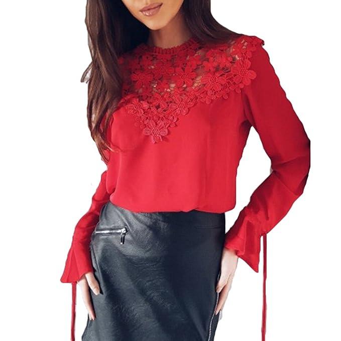 Juleya Blusa Mujer Encaje Gasa Camisa Manga Larga O Cuello Tops Mujer Blusas Elegante Slim Fit