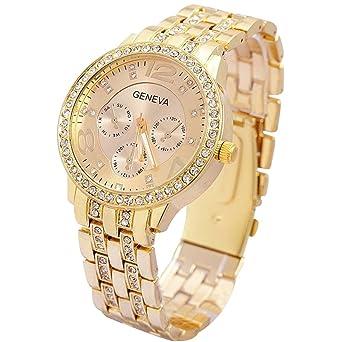Contever Geneva Reloj de Cuarzo para Mujer Reloj de Pulsera de Moda AnalóGico Diseño Unisex, Color Dorado: Amazon.es: Electrónica