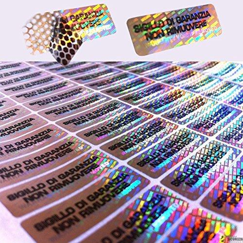 70 Etichette adesive sigilli ologrammi di garanzia e sicurezza 1cm x 3cm