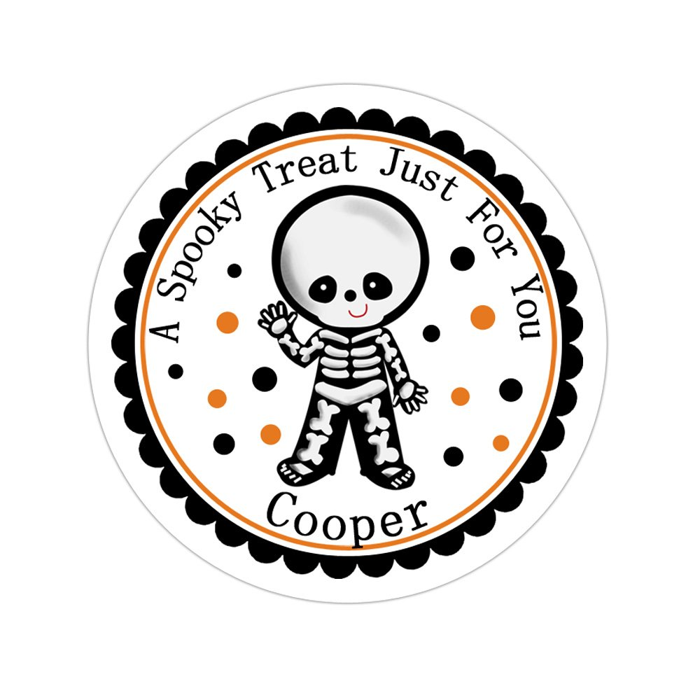 Personalized Customized Halloween Party Favor Thank You Stickers - Skeleton Costume - Round Labels - Choose Your Size
