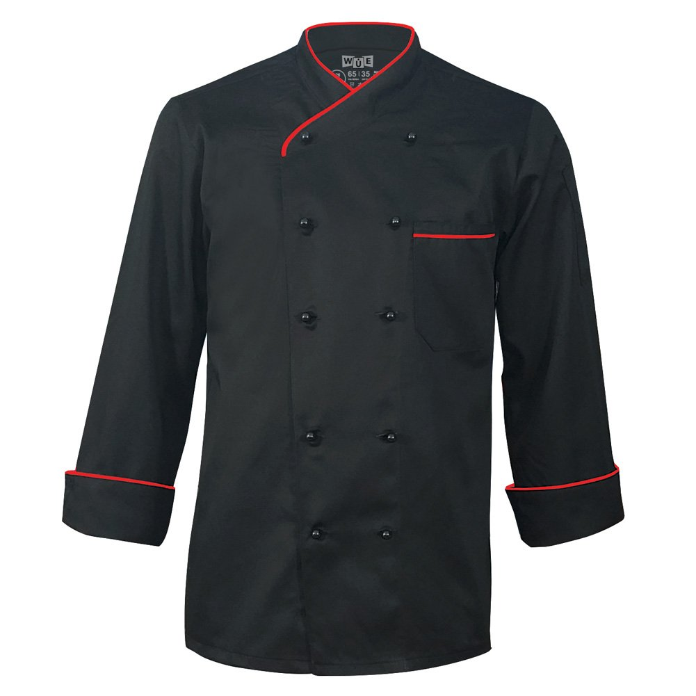 10oz Apparel Long Sleeve Black Chef Coat with Red Piping M