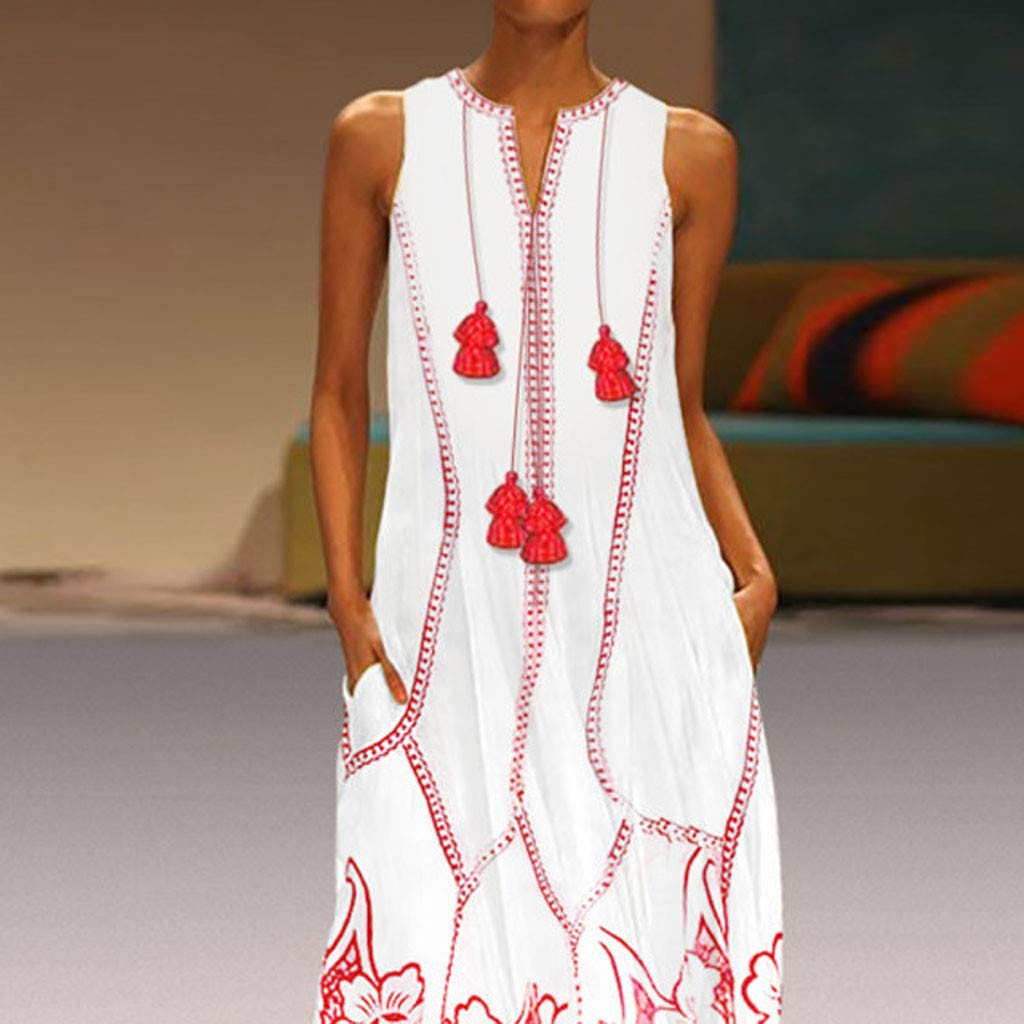 Yellsong Oversized Tassel Maxi Dress,Vintage Long Dress for Women, Summer Boho Dress Oversized Tassel Maxi Dresses for Travel Beach Holiday Party by Yellsong-Clothing (Image #2)