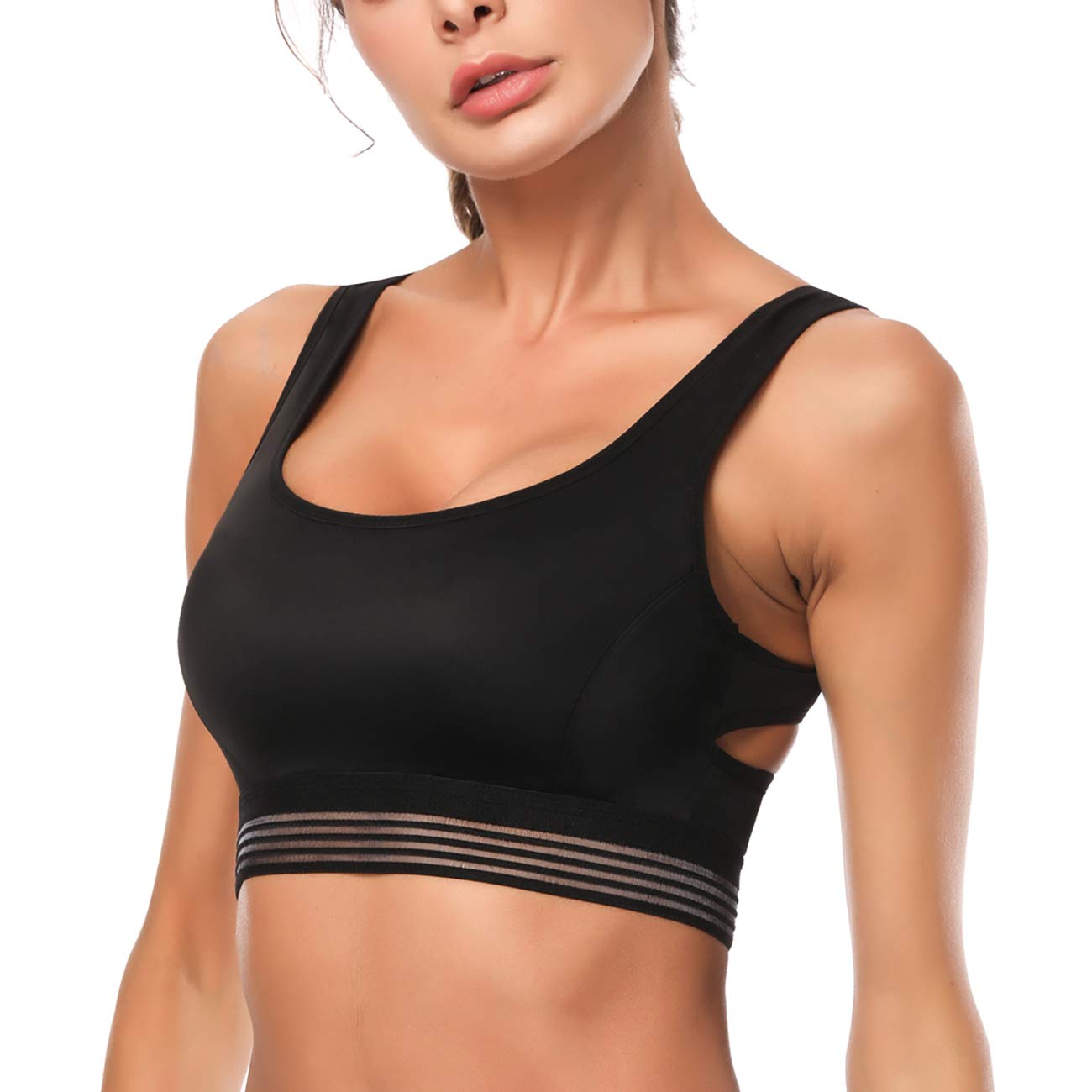 Kamier Sports Bra Padded for Gym Workout Activewear Yoga Running Bra(Black,Large)