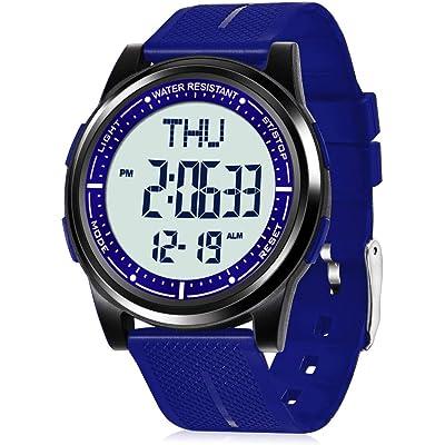 WIFORT Reloj Digital para Hombre Mujer,5ATM Impermeable Esfera Grande Ultra Delgado con Cronómetro Cuenta Regresiva Alarma Tiempo Dividido Zone Horaria Dual,Deportivo Relojes de Pulsera Unisex