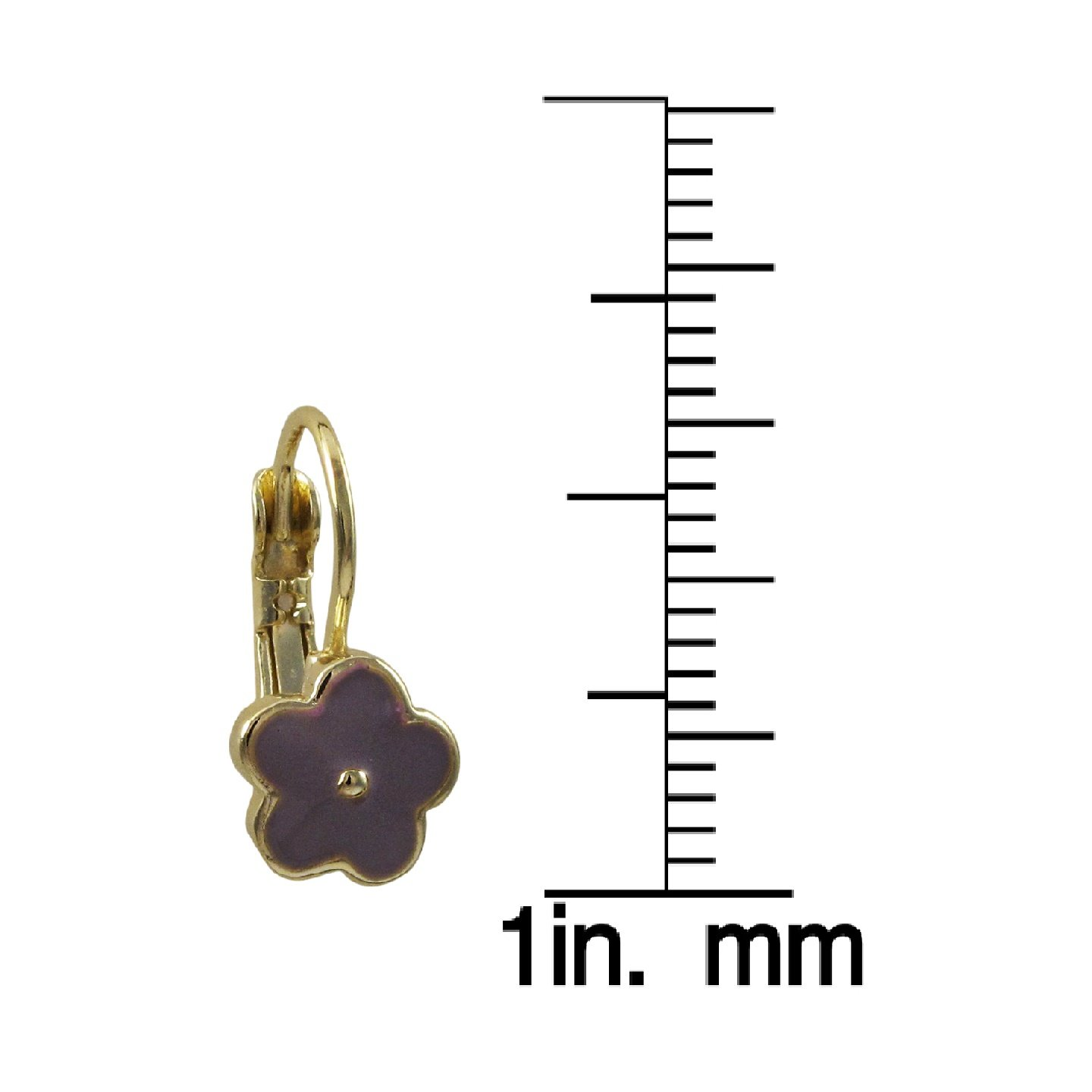 Ivy and Max Gold Finish Lavender Enamel Flower Girls Leverback Earrings