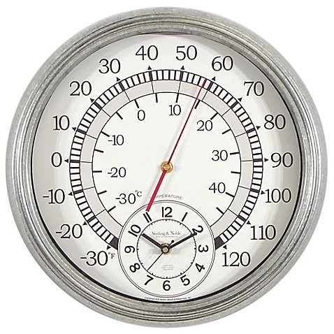 Wall Clock With Built-in Thermometer Galvanized Metal by Sterling & Noble